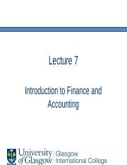 Lecture 7- Introduction and Statement of Financial Position