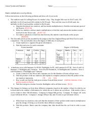 Matrix Multiplication word problems with key (1)
