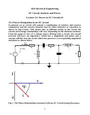 Lecture 15 Power in AC Circuits II