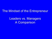 ENT3003 Lecture 1.2 The Mindset Of The Entrepreneur
