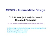 Class 22 - Power Screws  Threaded Fasteners (1)