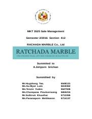 MKT 3525 Sale Management - Cover page