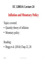 Lecture 24 Inflation and Monetary Policy