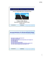 Lecture 7A - Selected Web Sites for Renewable Energy - Part 1