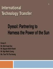 iEMBA 16 Group 3 - Dyesol- Partnering to Harness the Power of the Sun.ppt