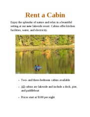 Lab 1-3 Cabin Rentals Flyer