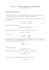 Stat 851 Inference, Deviance, Binomial GLM Notes