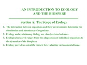 Ecology Intro - Notes