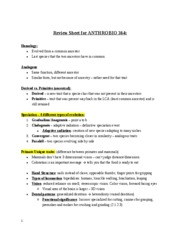 Review Sheet for ANTHROBIO 364