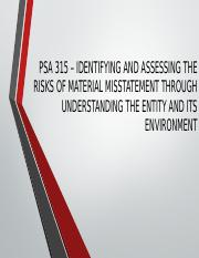 PSA 315 – IDENTIFYING AND ASSESSING THE RISKS.pptx