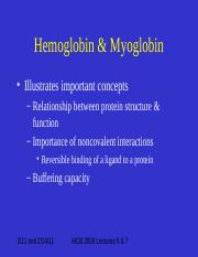 Lectures 6 and 7 Hemoglobin %26 Myoglobin