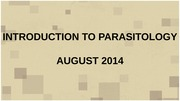 INTRO PARASITOLOGY 2014-2
