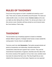 Rules of Taxonomy