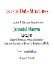 CSC2105 Lecture 04-Stack and its applications