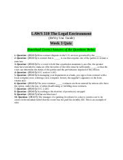 Laws 310 Week 3 Quiz Answers