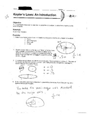 Kepler's Law Worksheet