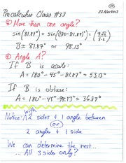 Pre-Calculus 11 Trigonometry with More Than One Angle Notes
