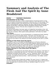 Summary and Analysis of The Flesh And The Spirit by Anne Bradstreet (1).docx