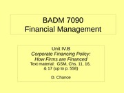 BADM 7090 IVB 2010 - Corporate Financing Policy (How Firms are Financed)