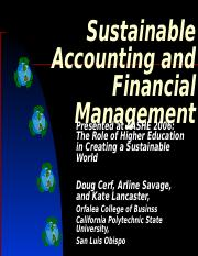 A big picture Sustainable Accounting and Finance