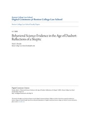 Behavioral Science Evidence in the Age of Daubert_ Reflections of