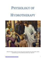 Physiology Of Hydrotherapy