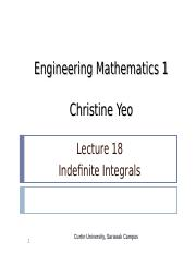 Math 1 lect18 - Indefinite Integrals.ppt