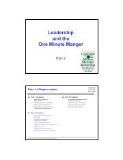 One Minute Manager Pdf