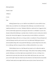 Essays On Persepolis  Pages Bullying Epidemic Essay Final Copy Intellectual Property Essay also Compare And Contrasting Essay Argumentative Essay On Reasons Against Bullying In Schoolsdocx  Persuasive Essay About Pollution