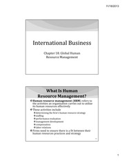 IB Chapter 18 - Global HRM