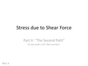 T13.3 Stress due to Shear