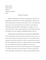 letter to a high school student essay