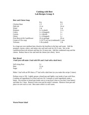 BWF Lab 1 Recipes