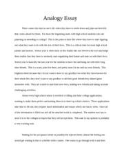 analogy sample essay