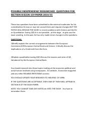 POSSIBLE INDEPENDENLY RESEARCHED  QUESTIONS FOR SECTION B ECON 159 PAPER 2014.docx