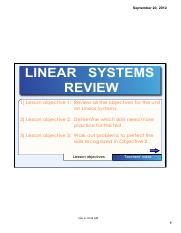LINEAR SYSTEMS REVIEW NOTE