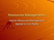 Resources Management I HRM
