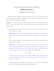 Econ 444 Midterm 1 2015 with Answers