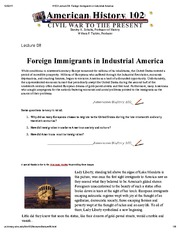 H102 Lecture 08_ Foreign Immigrants in Industrial America