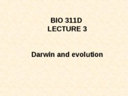 Lecture 3 Darwin and evolution posted