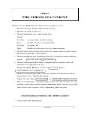 2 Chapter 2 The Thesis Statement The Thesis Statement Is Usually One Sentence That States The Aim Or Purpose Of The Essay 1 The Thesis Should Be The Course Hero