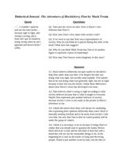 huck finn dialectical journal 1 essay Dialectical journals guide students through the often intimidating process of critical thinking this lesson will explain what a dialectical.