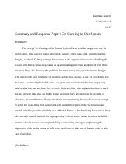 Summary and Response Paper: On Coming to Our Senses.docx