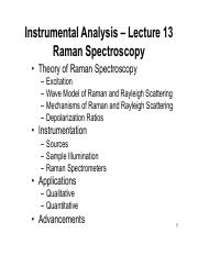 Lecture 13 - Raman Spectroscopy