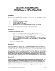 Autumn 2005- TBS 907- Tutorial 1 - NPV Analysis