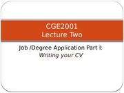 Lecture - CV and Job Application Letter (For Tutor)