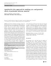 Analytical in vitro approach for studying cyto- and genotoxic