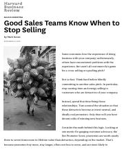 Good Sales Teams Know When to Stop Selling