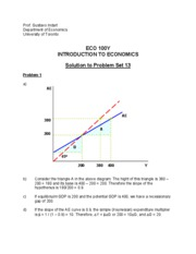 Solution to Problem Set 13 _ECO100_
