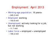 Unemployment - May 7, 2013